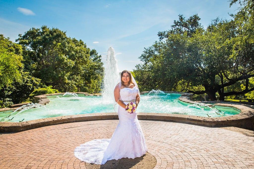 Linda's bridal session at the McNay big fountain