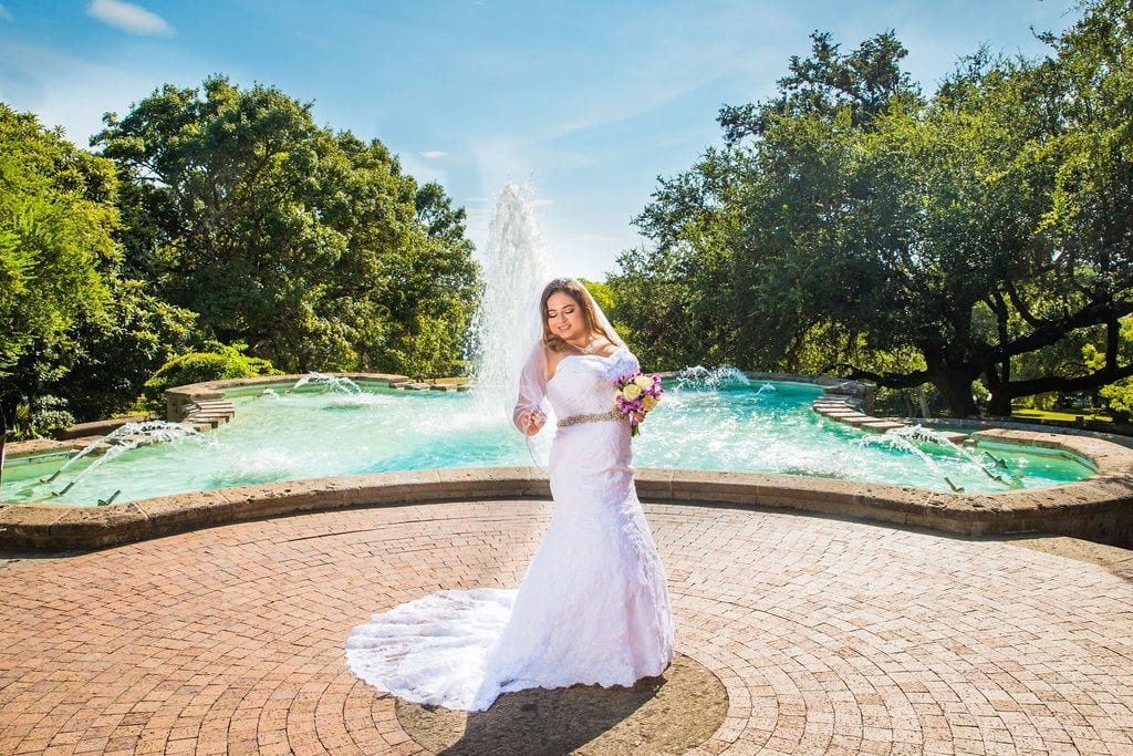 Linda's bridal session at the McNay by the big fountain