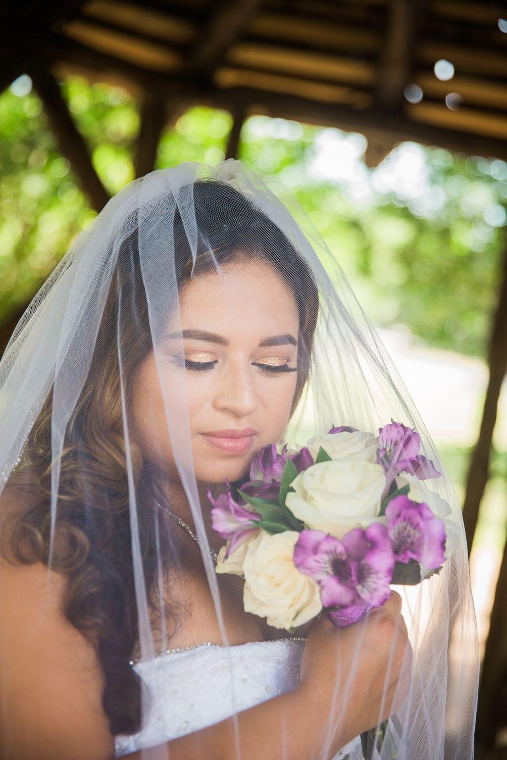 Linda's bridal session at the McNay under veil