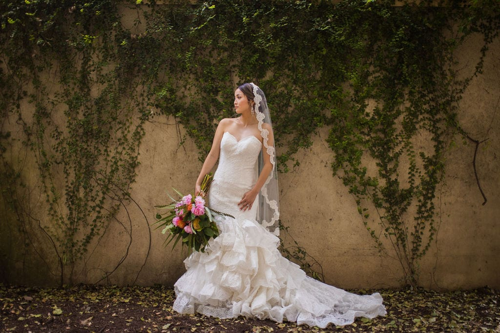 Marriott Plaza Styled shoot bride on ivy wall