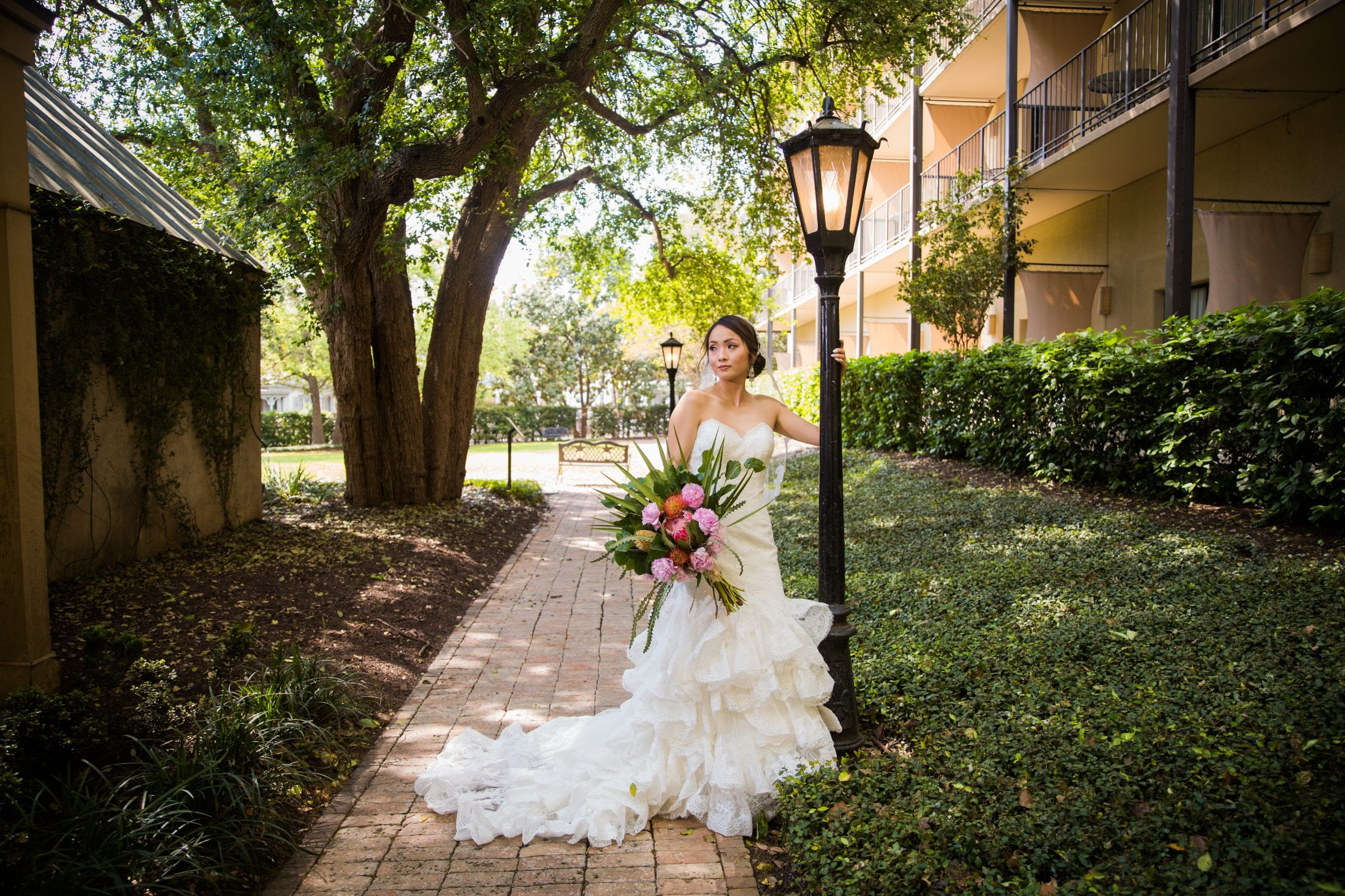 Marriott Plaza Styled Shoot bride on path