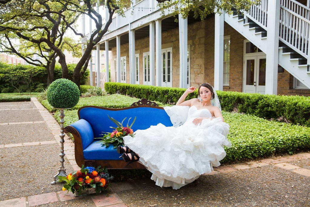 Marriott Plaza Styled shoot bride lounging on sofa