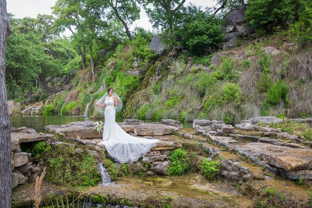 Samantha's Bridal Hidden Fall top of the falls full view