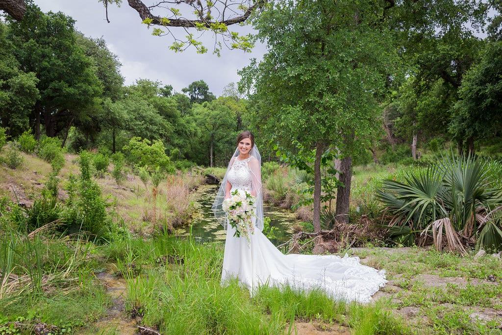 Samantha's Bridal Hidden Falls at the creek