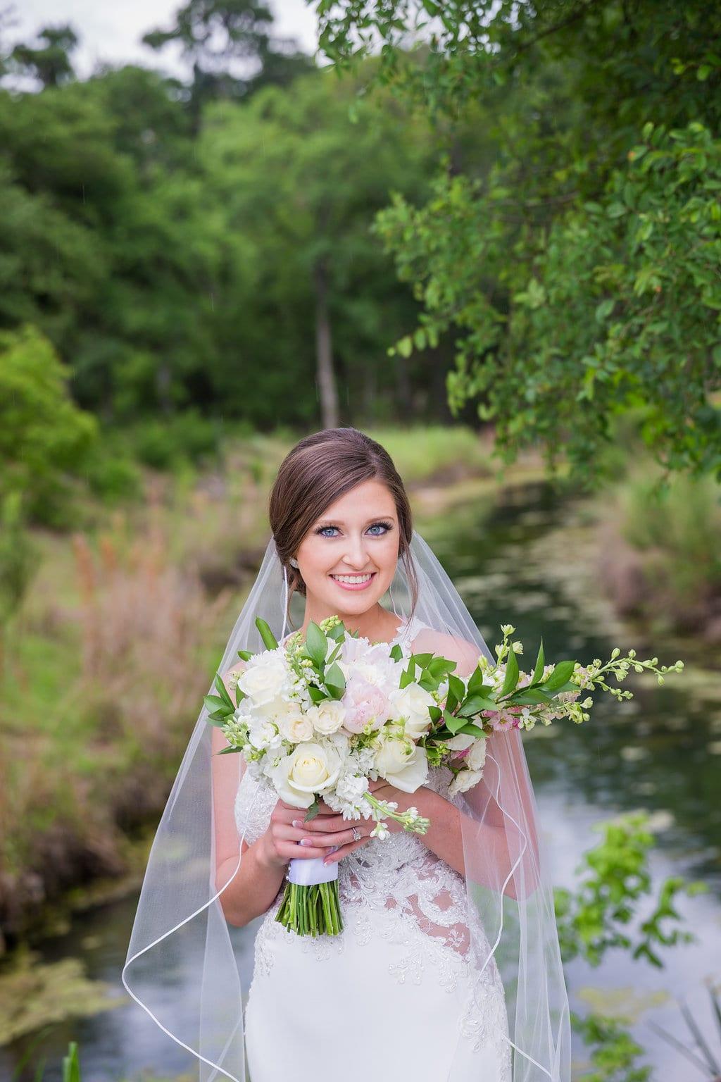 Samantha's Bridal Hidden Falls close up at the creek