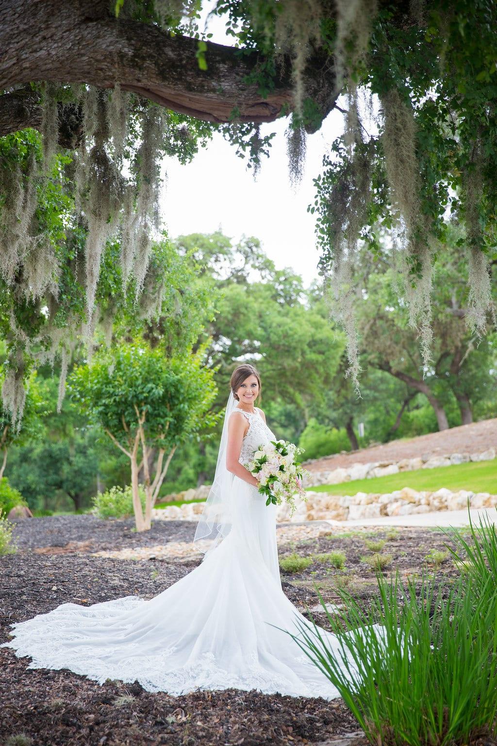 Samantha's Bridal Hidden Falls mossy tree portrait