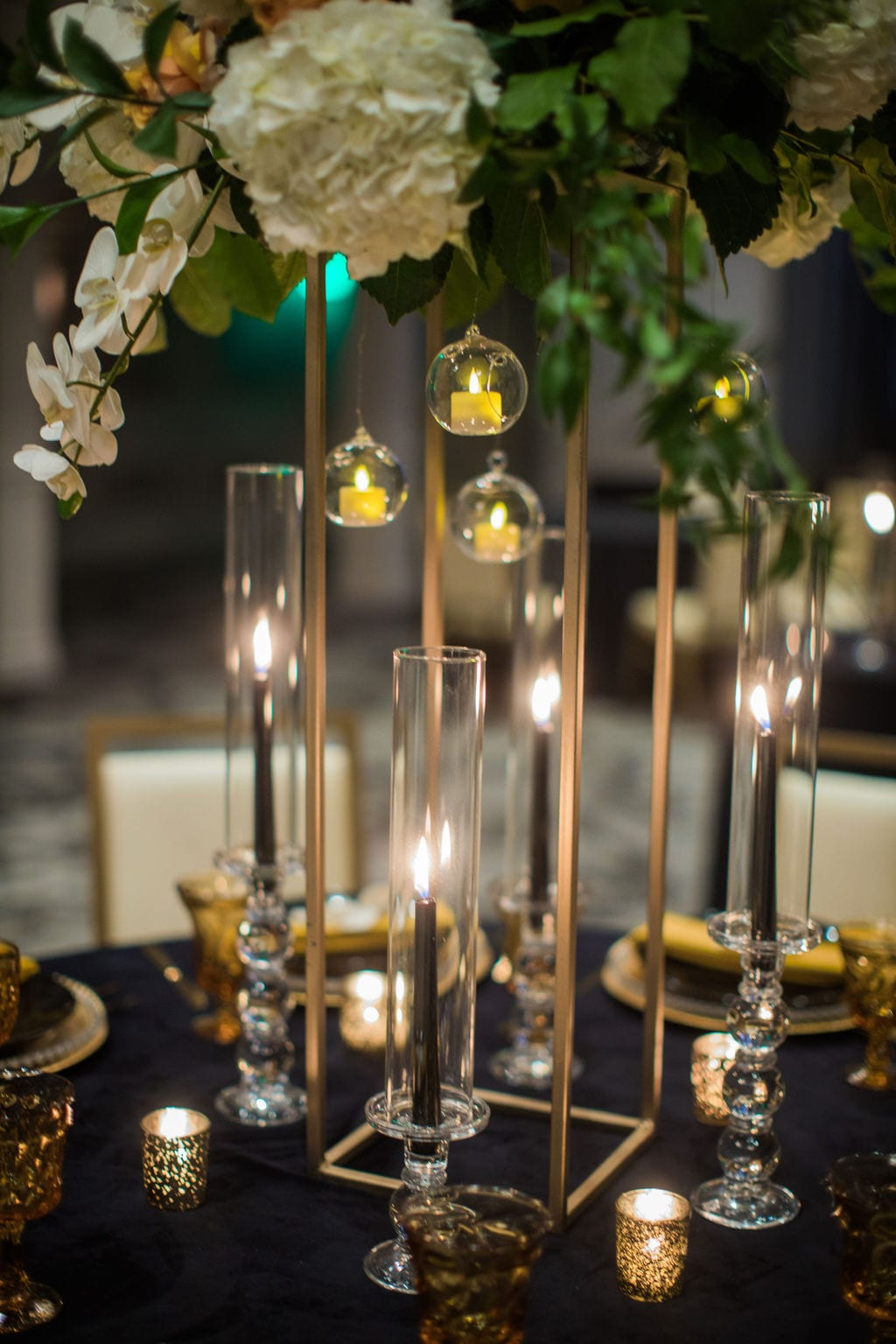 St Anthony Styled wedding flowers hanging candles