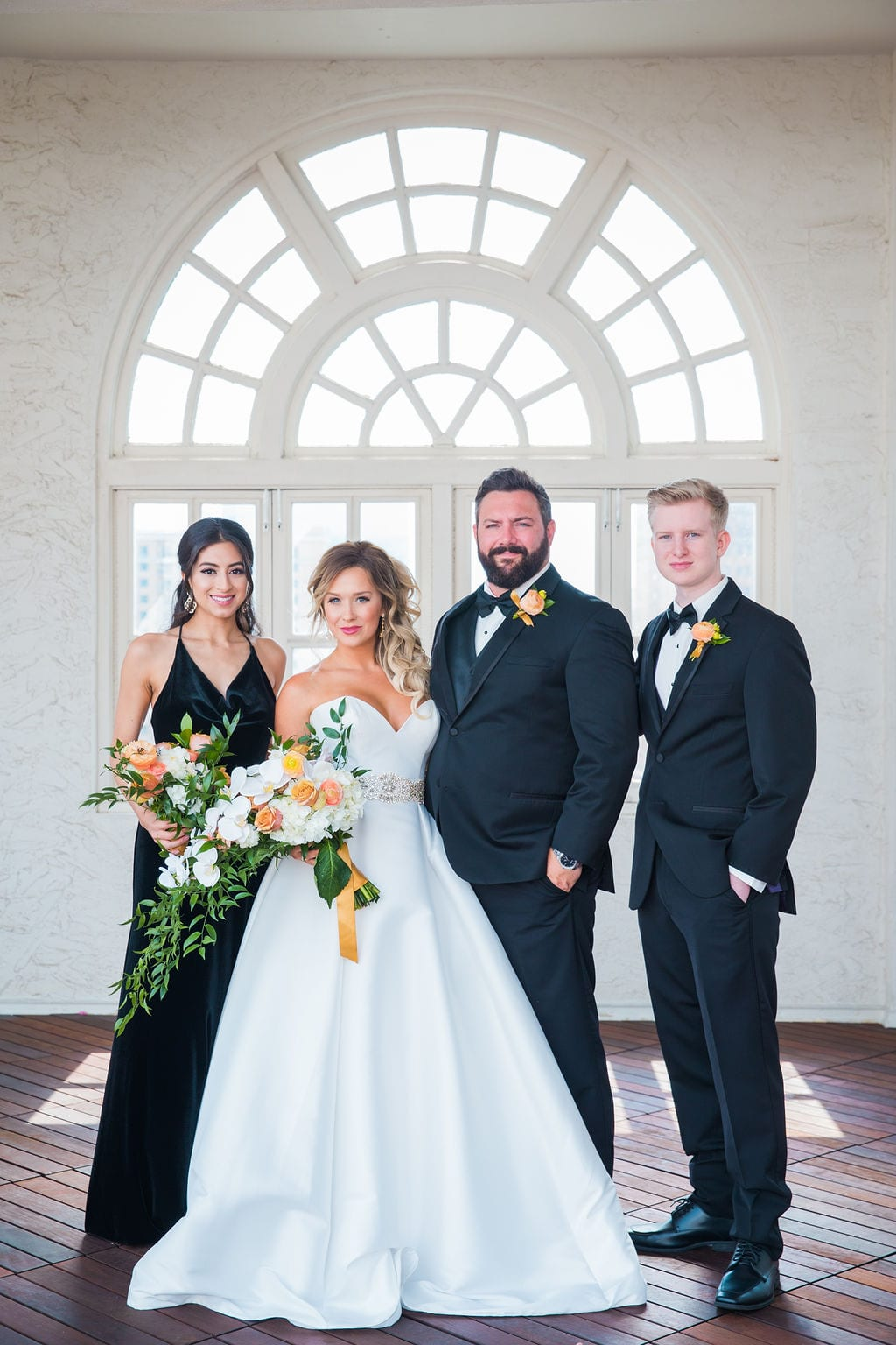St Anthony Styled wedding groom and bride on wedding party