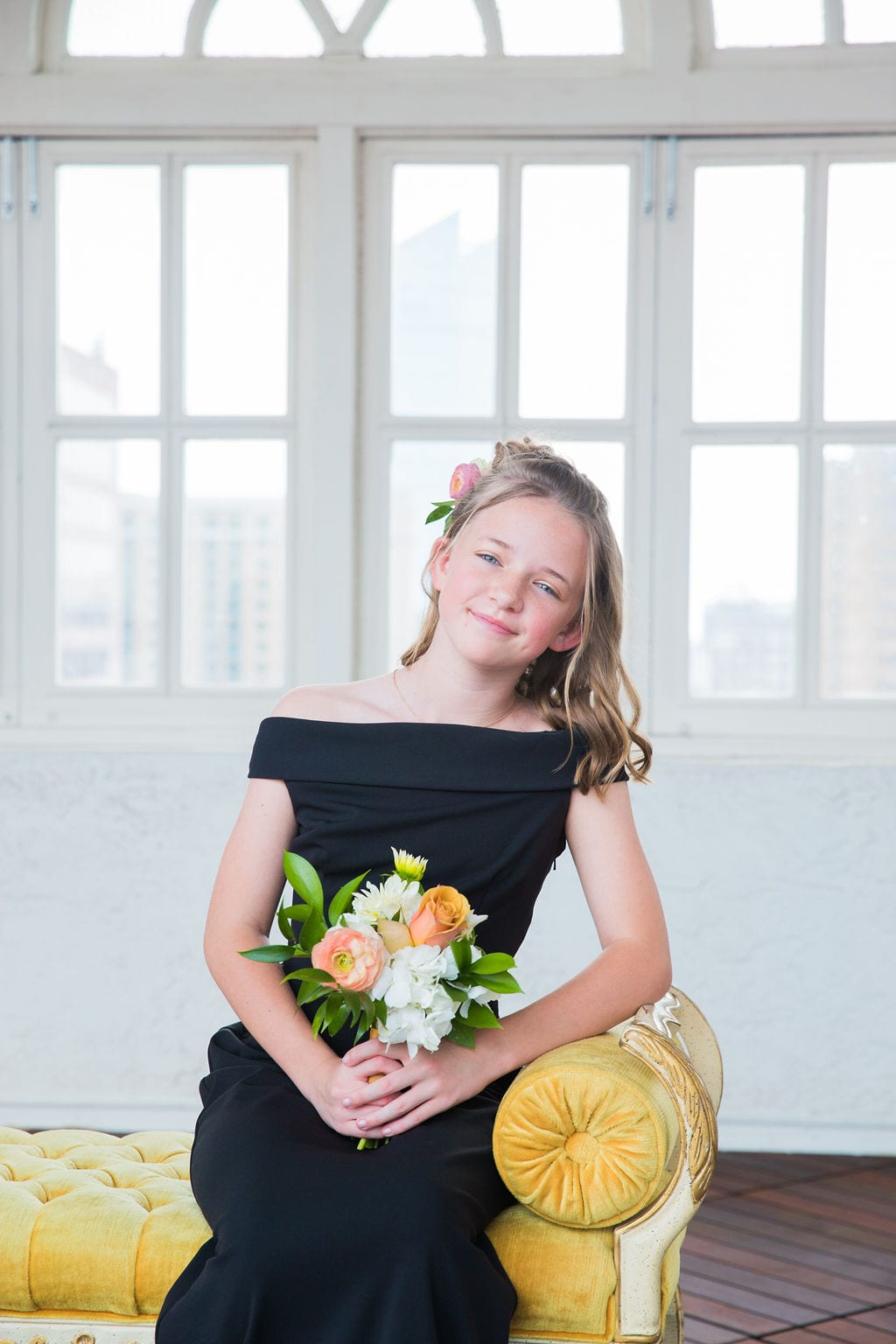 St Anthony Styled wedding junior bridesmaid