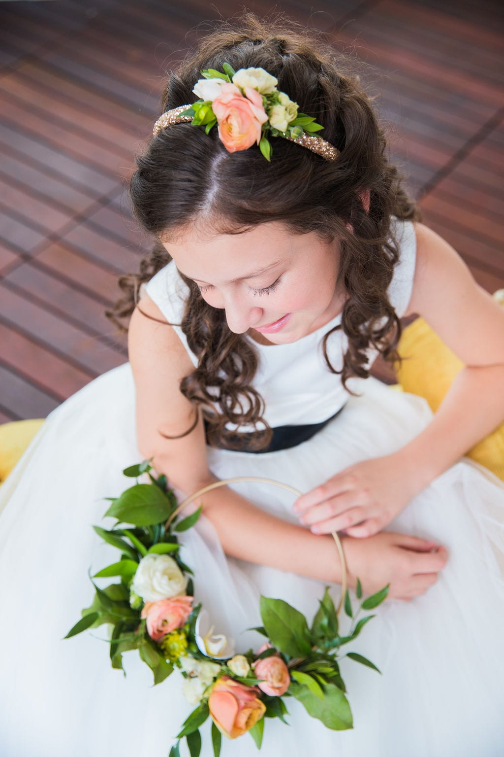 St Anthony Styled wedding flower girl head piece