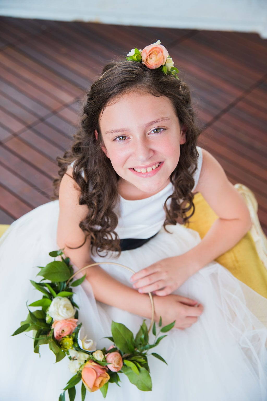 St Anthony Styled wedding flower girl looking up