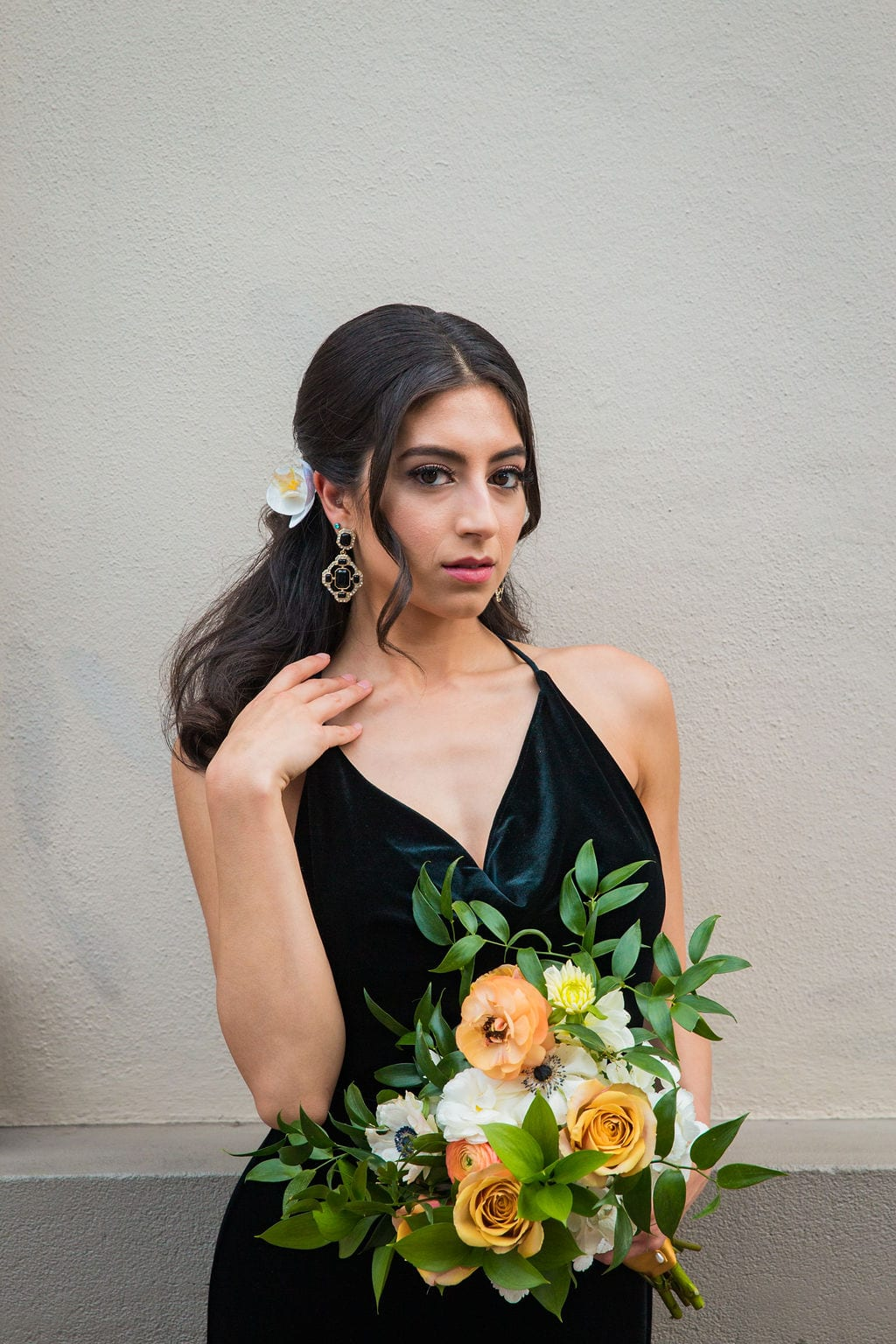 St Anthony Styled wedding bridesmaid with flowers