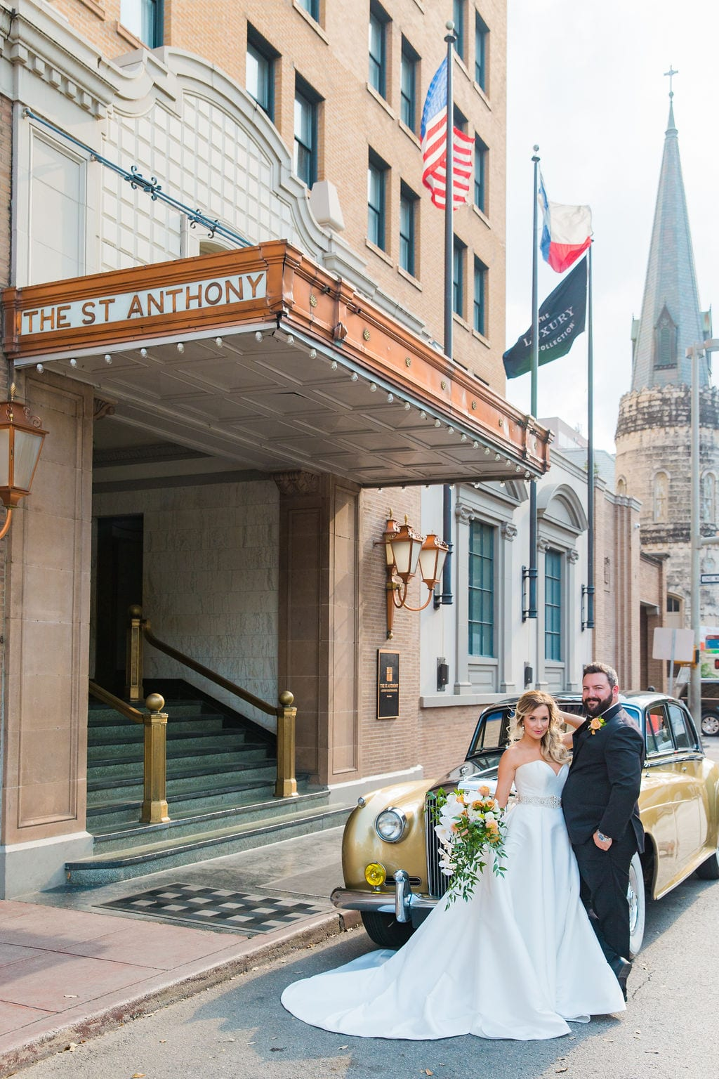 St Anthony Styled wedding bride and car and hotel