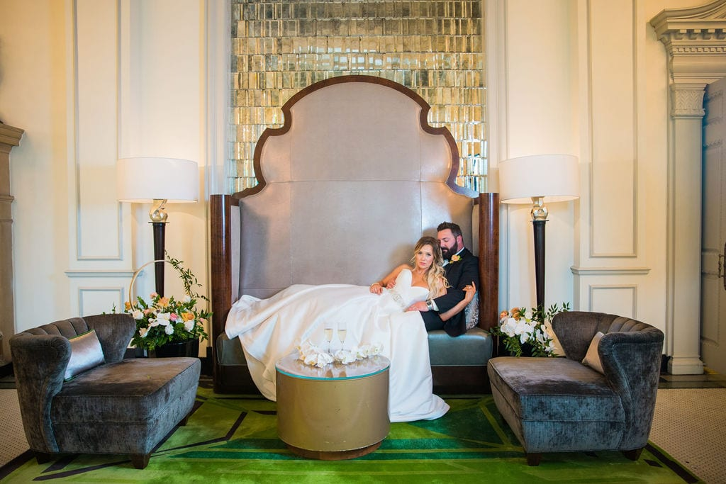 St Anthony Styled wedding couple in the big chair