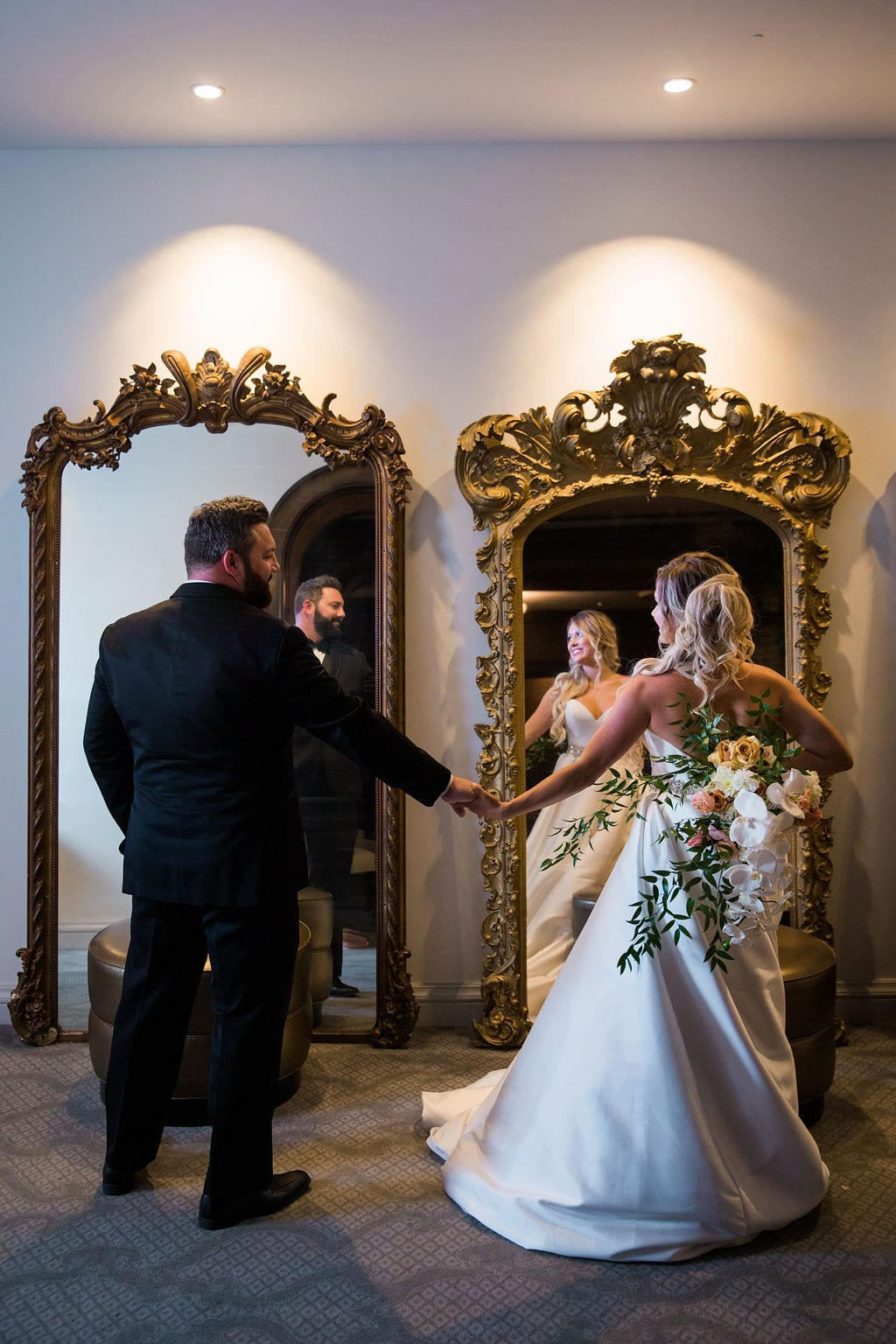 St Anthony Styled wedding groom and bride in mirror