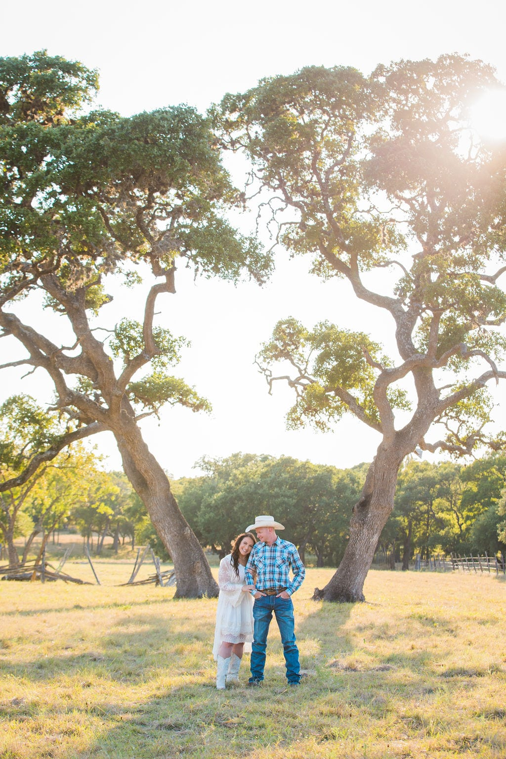Tess -Lance Boerne, TX Engagement under the tree with sun
