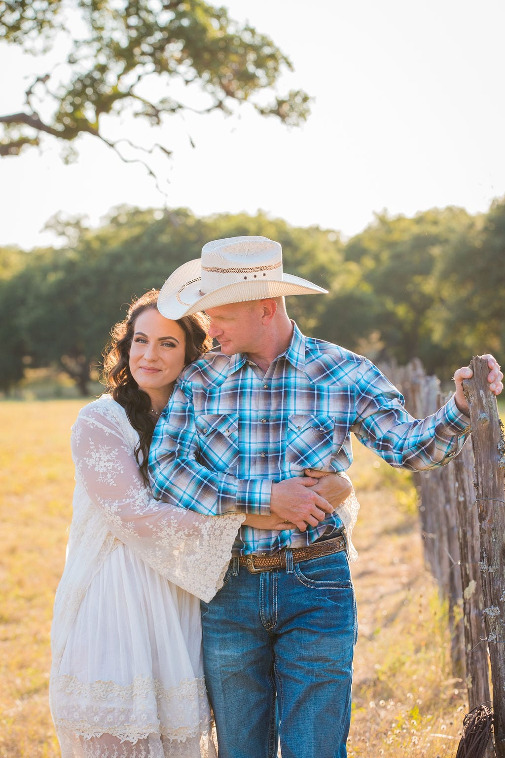 Tess -Lance Boerne, TX Engagement by the fence close up