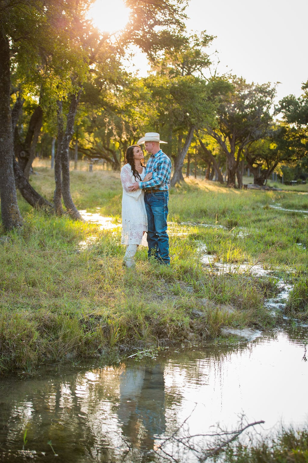 Tess -Lance Boerne, TX Engagement Portrait over the spring