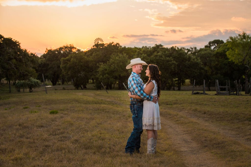 Tess -Lance Boerne, TX Engagement Portrait sunset on the ranch