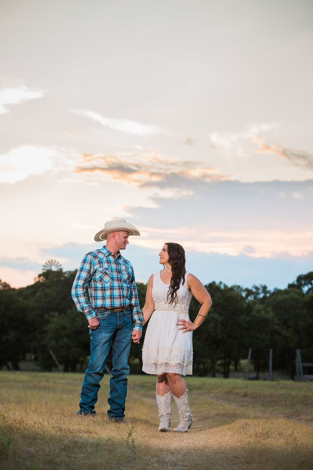 Tess -Lance Boerne, TX Engagement Portrait sunset on the path