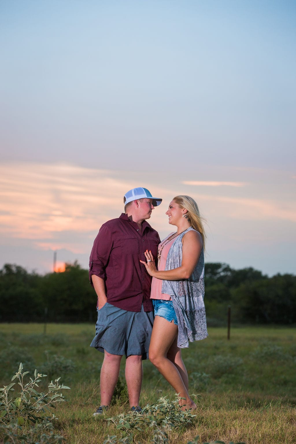 Whitney and Craig's ranch Engagement session at sunset
