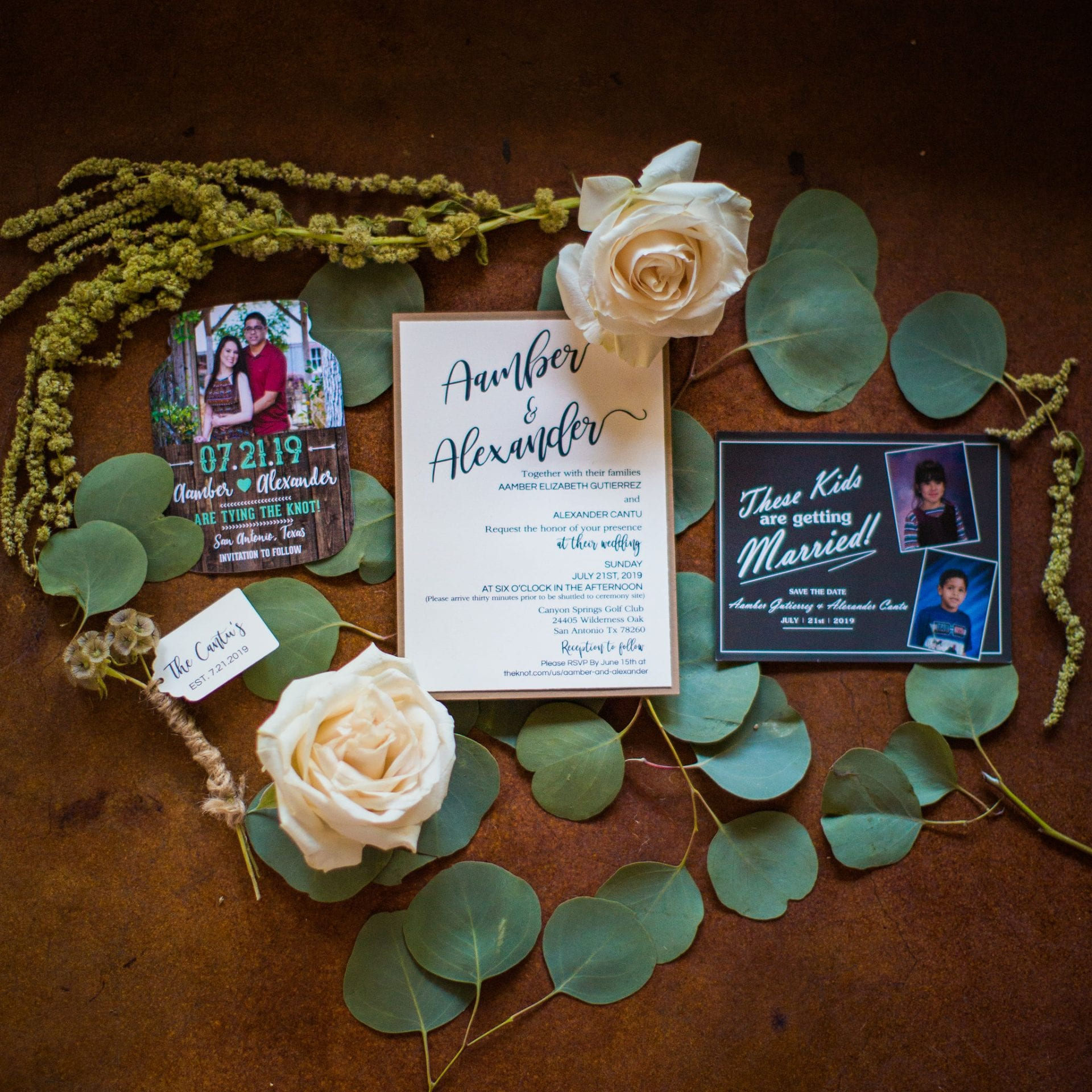 Aamber wedding Canyon Springs Golf Course invitation suite