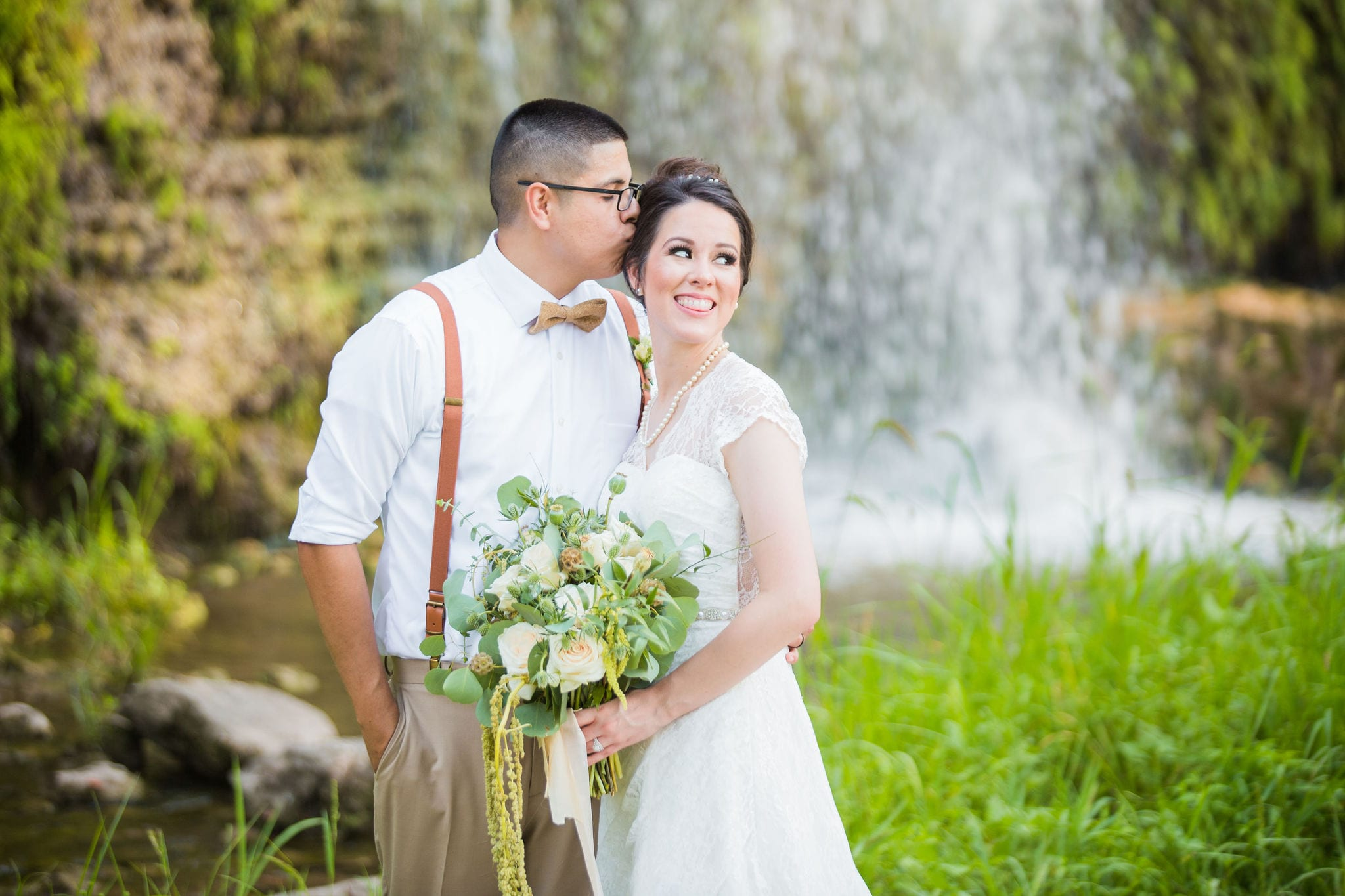 Aamber wedding Canyon Springs Golf Course couple under water fall