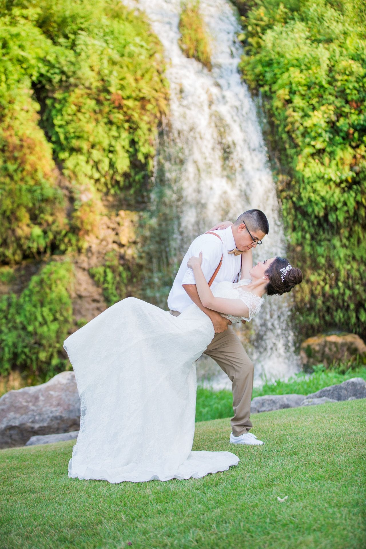 Aamber wedding Canyon Springs Golf Course dip at the falls