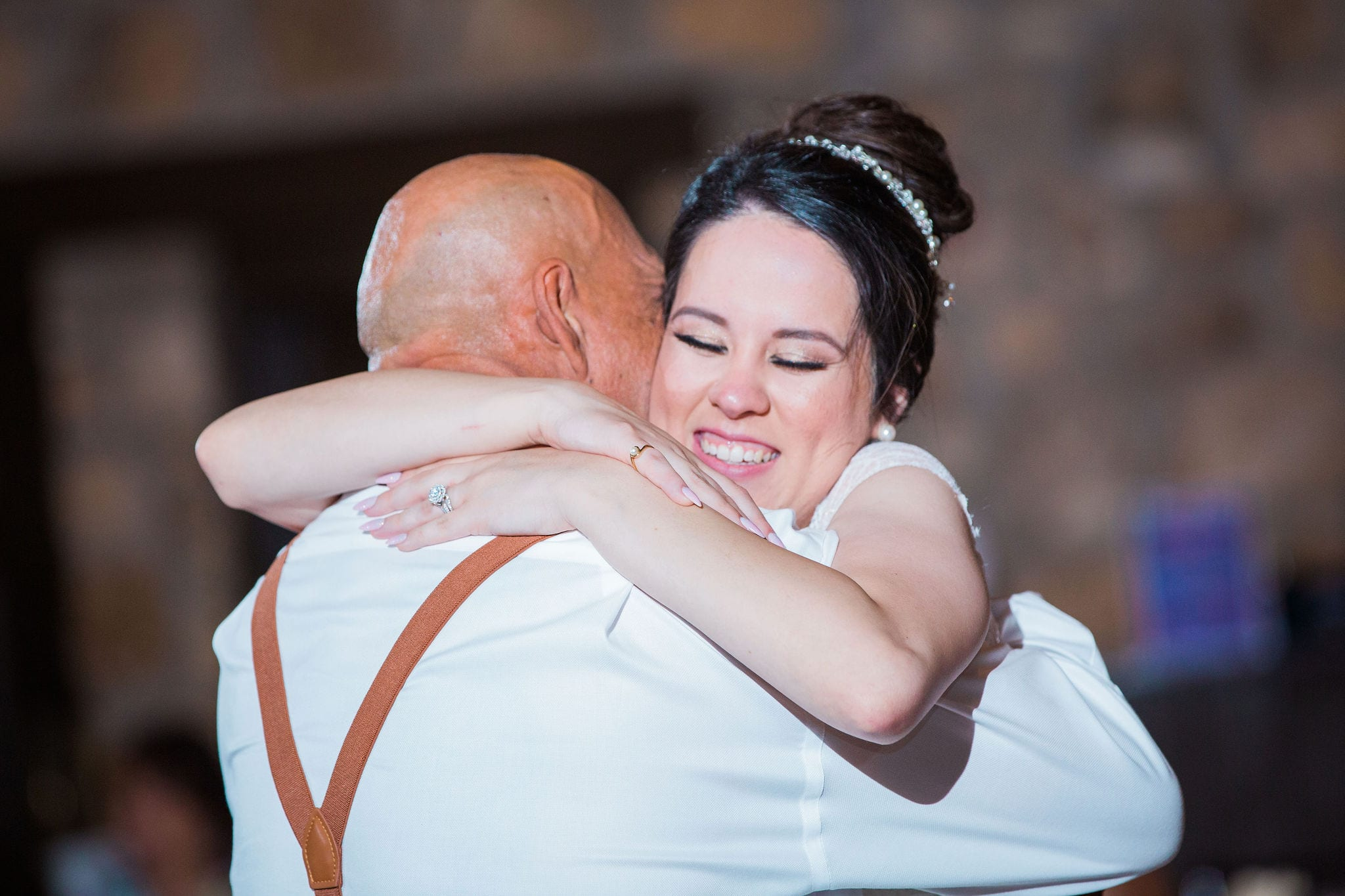 Aamber wedding Canyon Springs Golf Course fathers dance hug