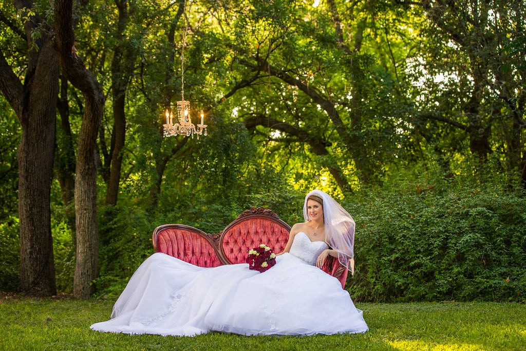 Laura's bridal at Landa Library with chandelier with veil