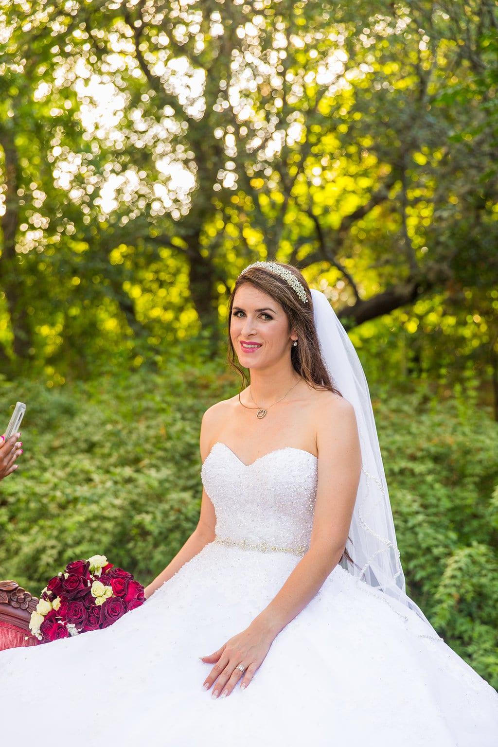 Laura's bridal at Landa Library on top of sofa