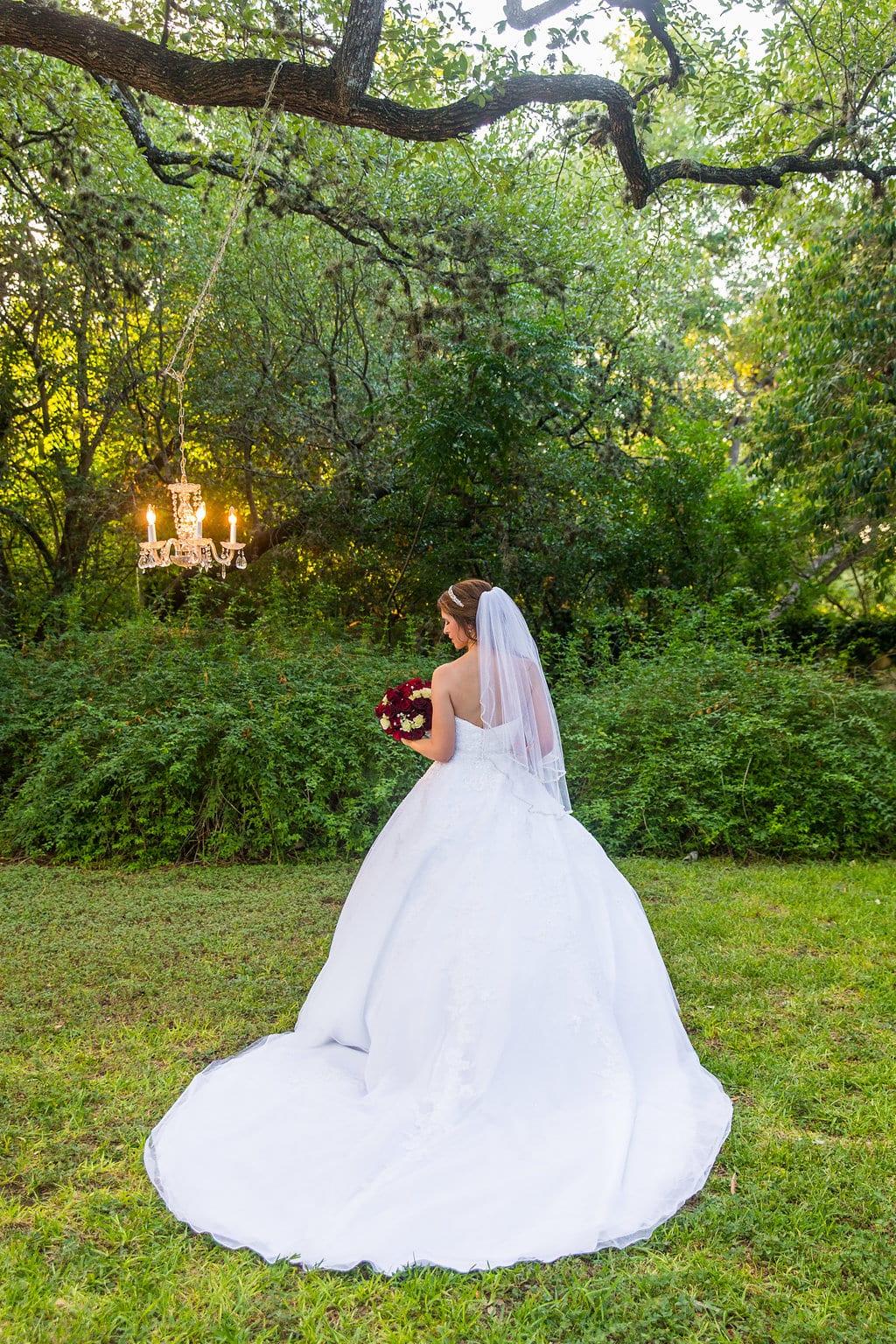Laura's bridal at Landa Library on top of sofa back