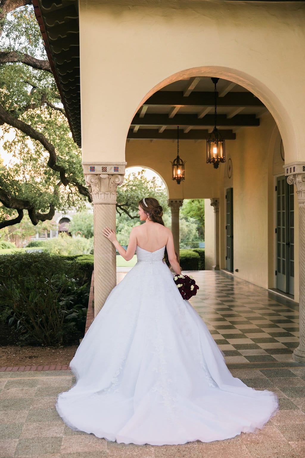 Laura's bridal at Landa Library back of arches