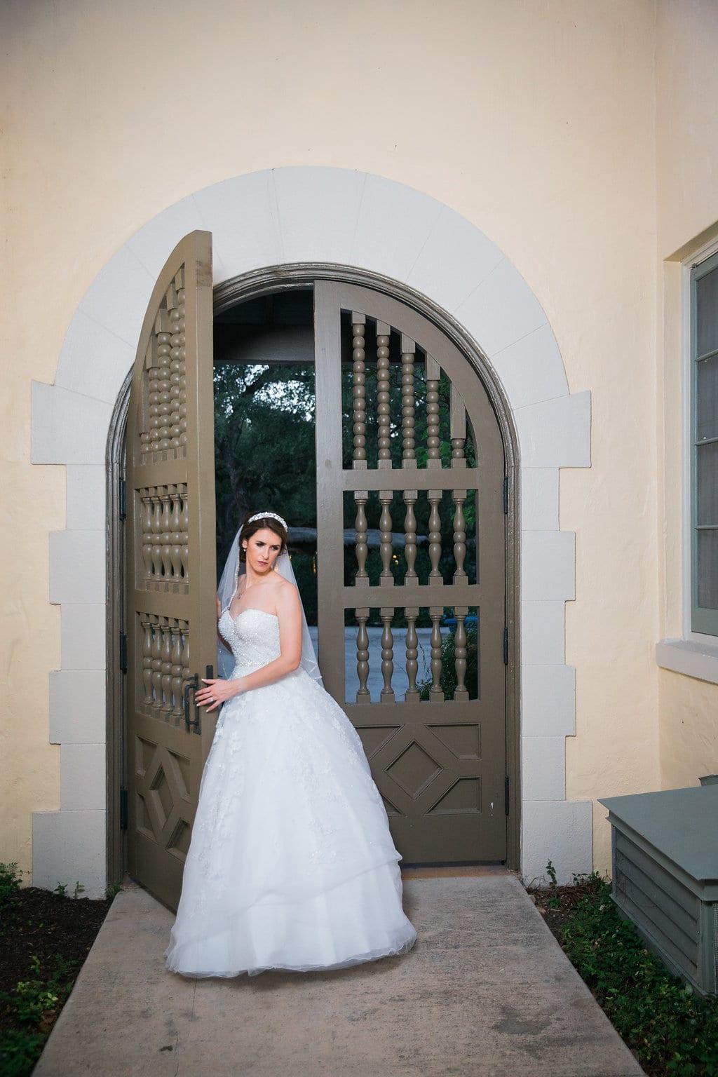 Laura's bridal at Landa Library gate bride looking down