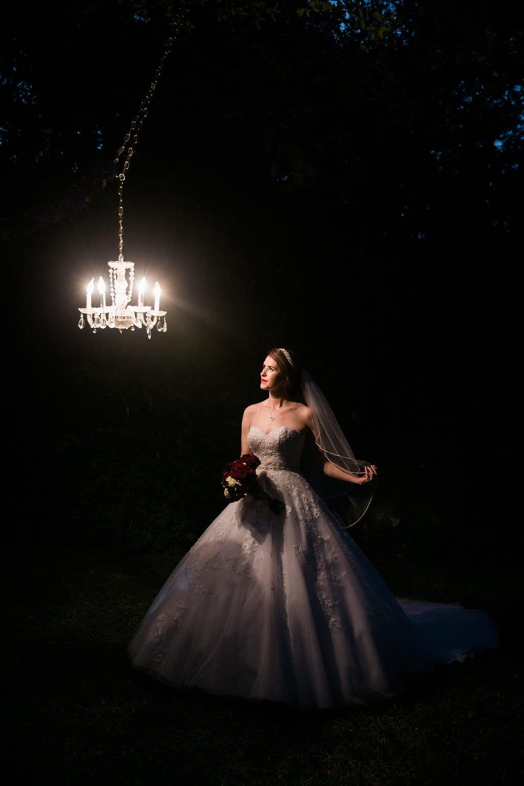Laura's bridal at Landa Library bride at night