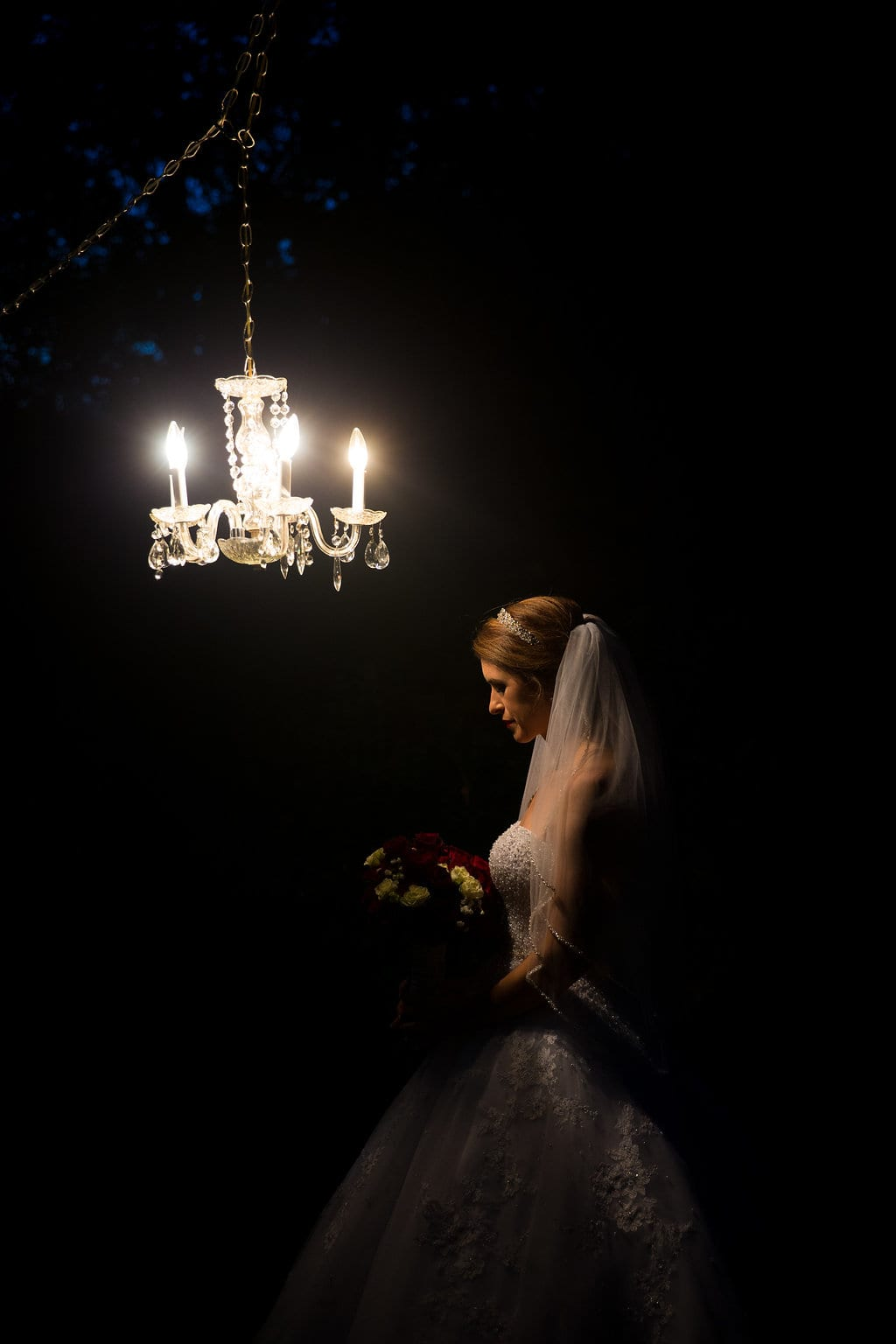 Laura's bridal at Landa Library bride at night prayer thought