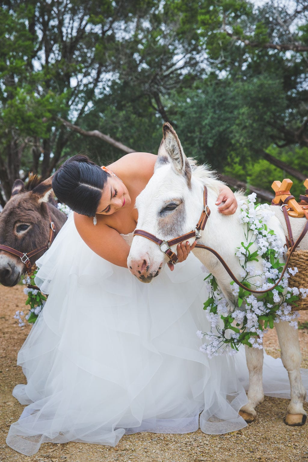 Laura wedding Western Sky brides and burros eye contact