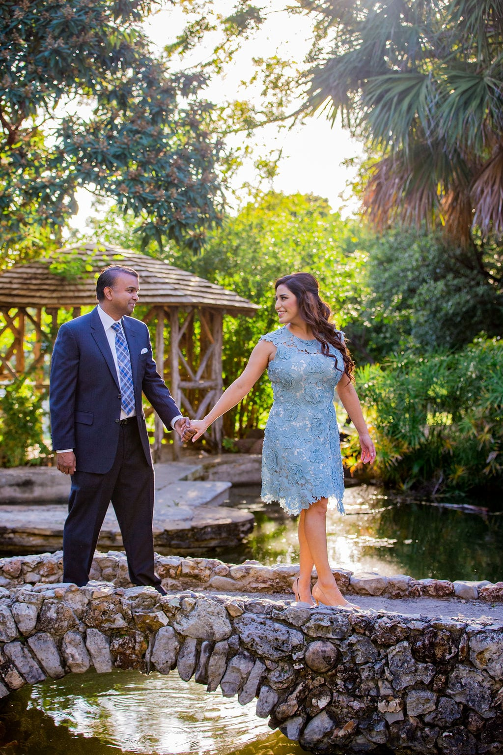 Mary Elizabeth's engagement at the McNay walking on the bridge