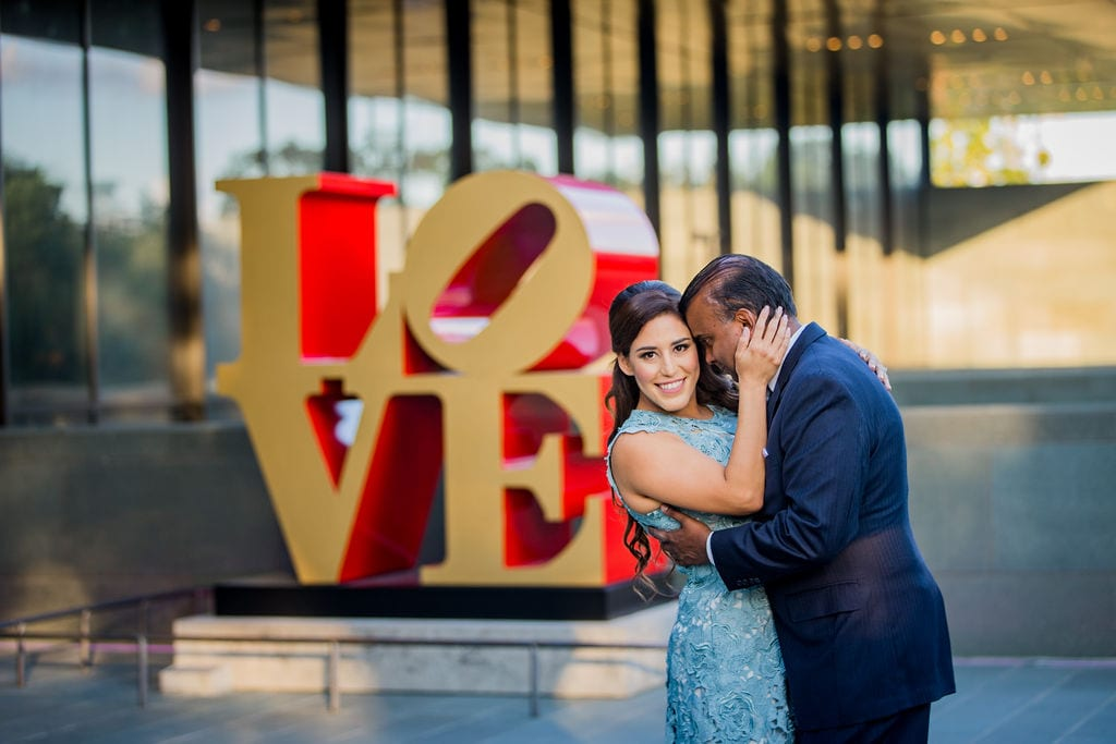 Mary Elizabeth's engagement at the McNay cuddling LOVE letters