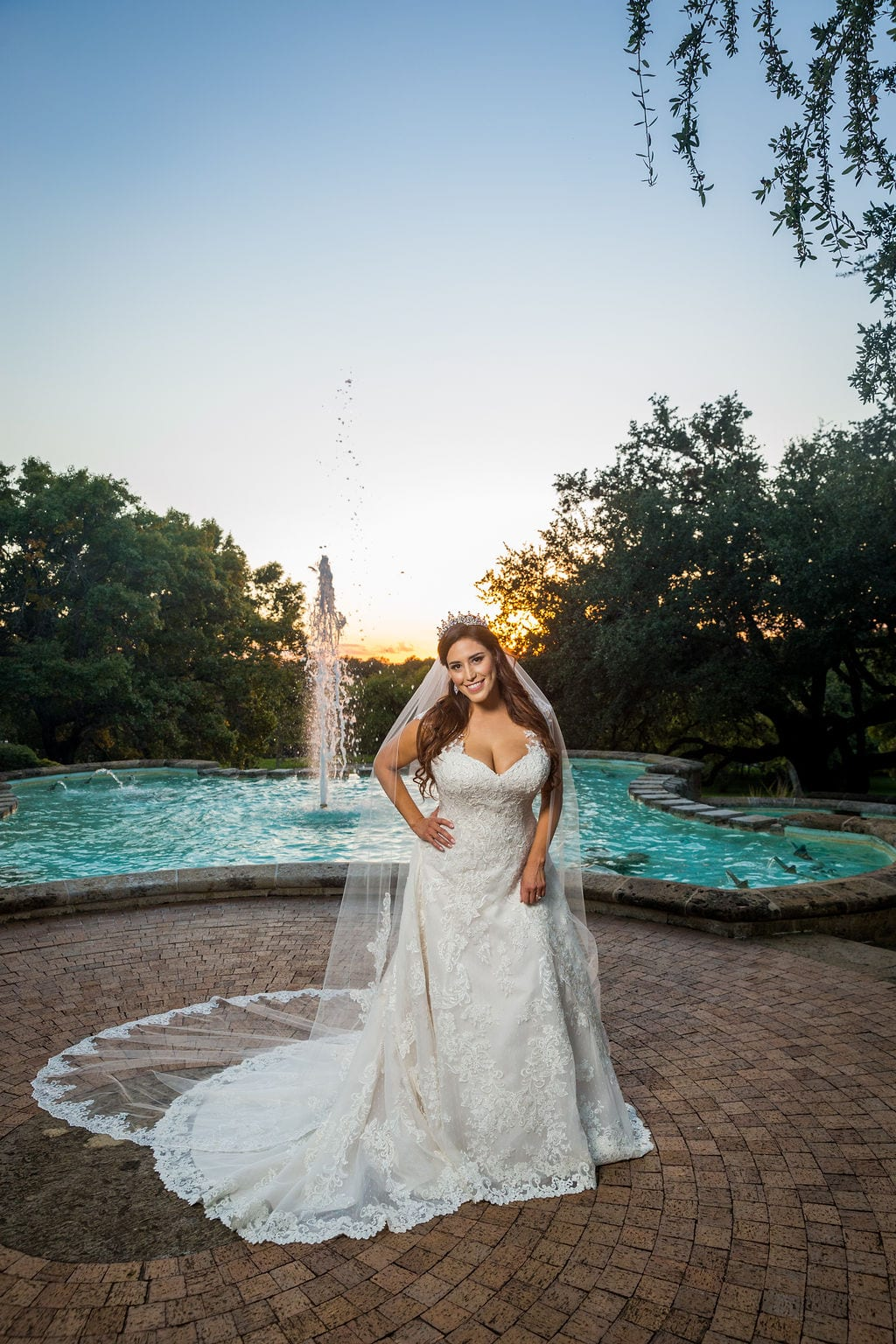 Mary Elizabeth's bridal at the McNay the fountain sassy laugh
