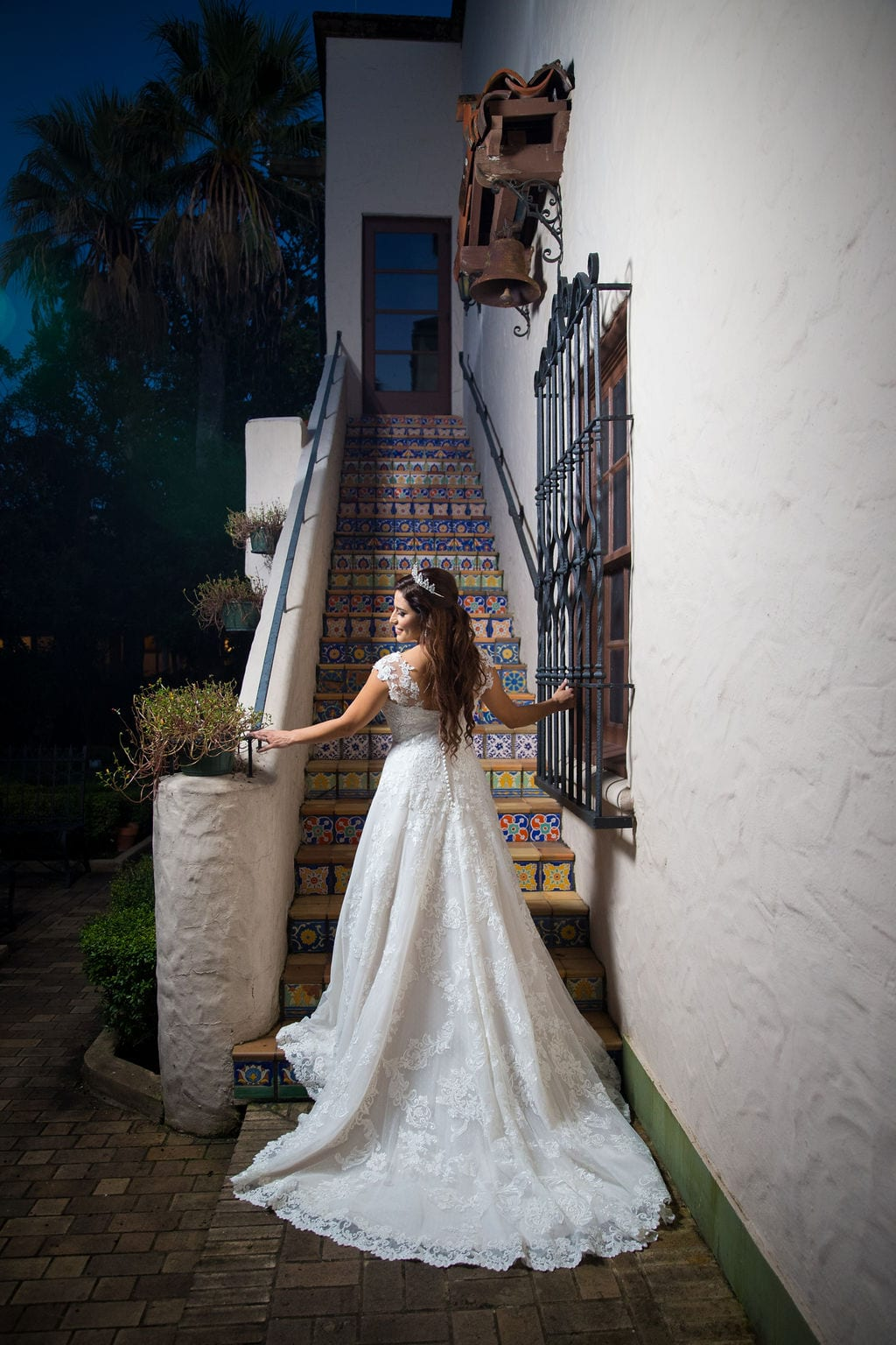 Mary Elizabeth's bridal at the McNay tiled stair back of dress