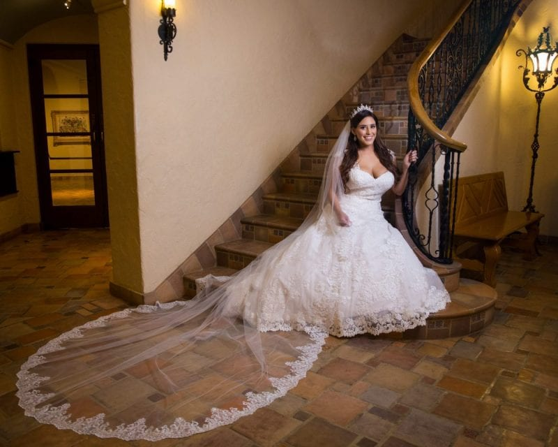 Mary Elizabeth's bridal at the McNay inside stair seated landscape