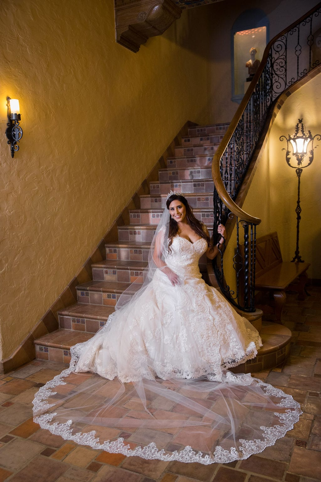 Mary Elizabeth's bridal at the McNay inside stair seated soft