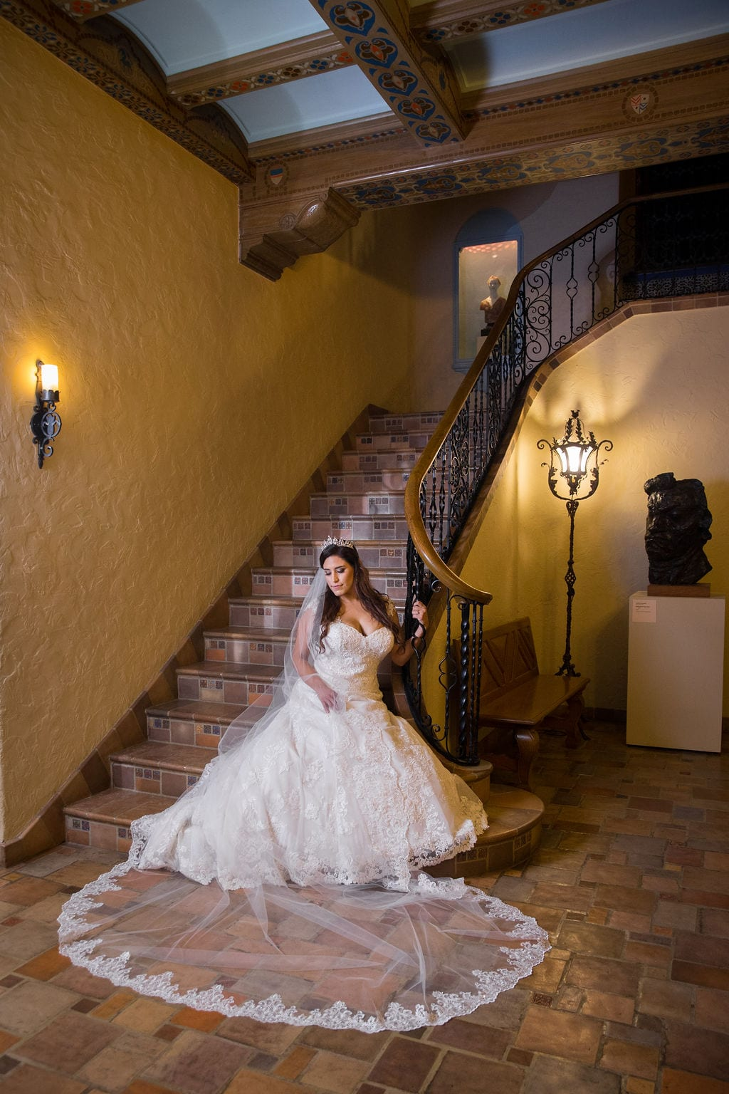 Mary Elizabeth's bridal at the McNay inside stair seated looking over