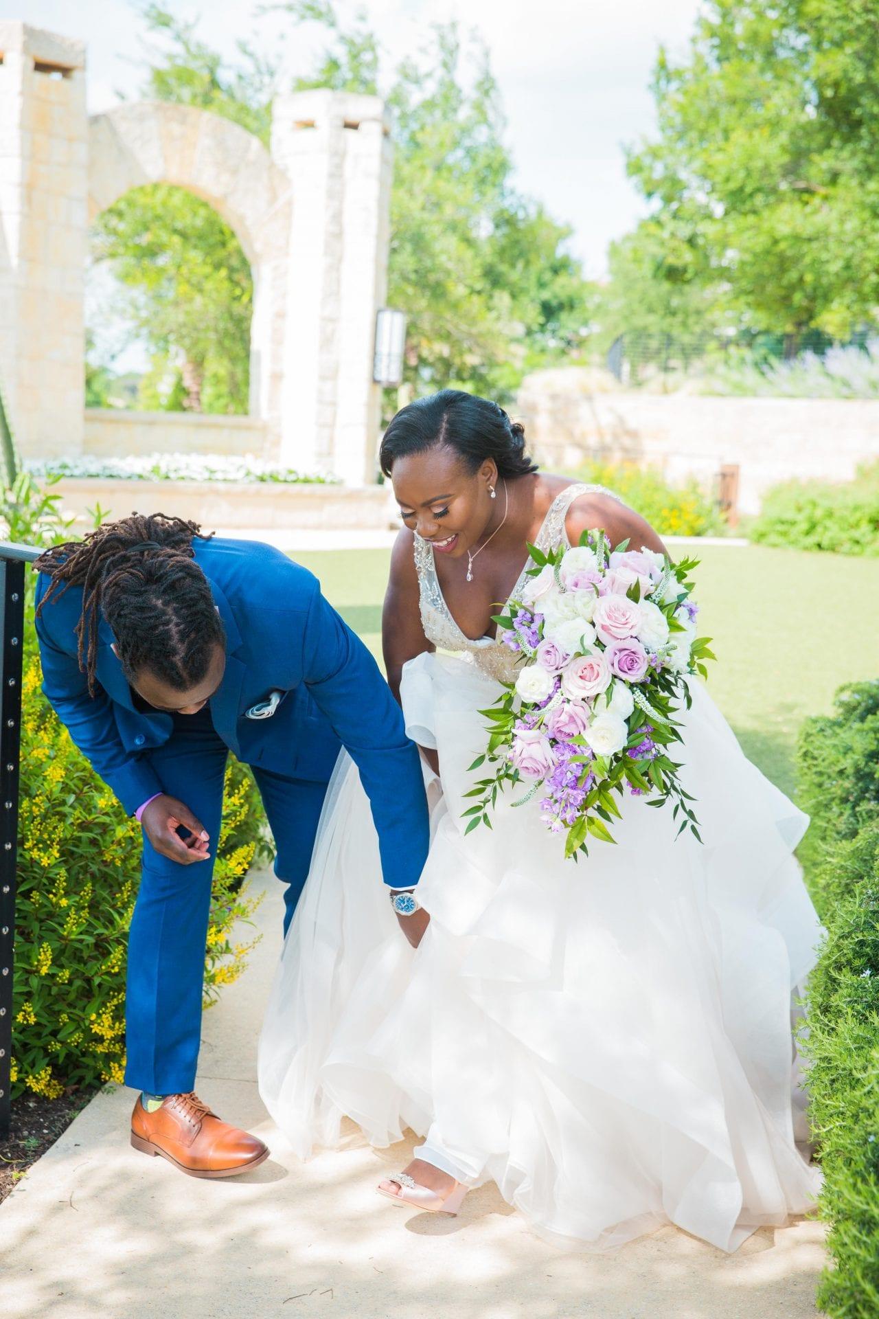 Onyema wedding La Cantera first look shoes