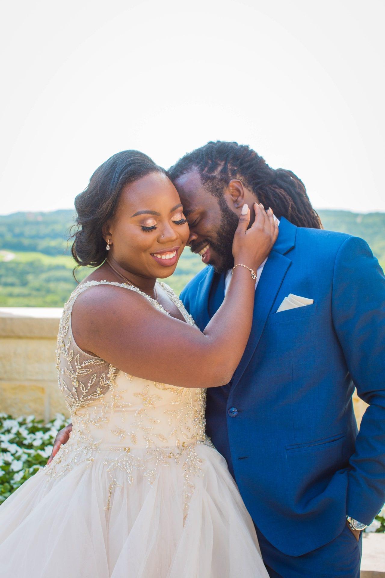Onyema wedding La Cantera bride blushing couple photo