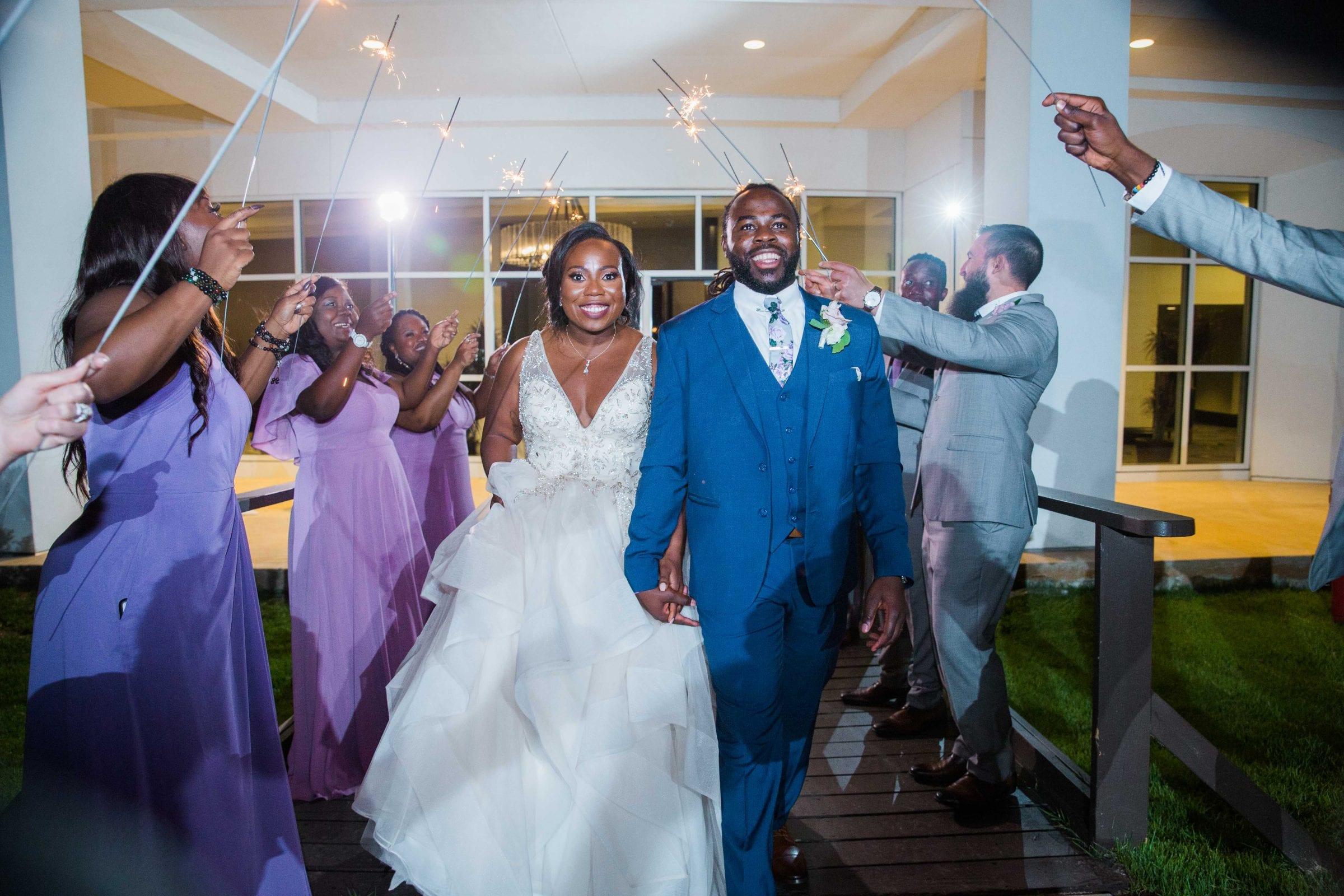 Onyema wedding La Cantera exit with sparklers