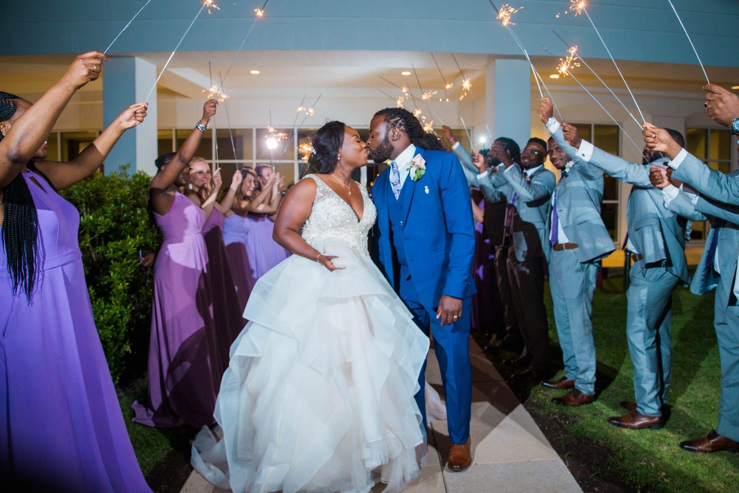 Onyema wedding La Cantera exit with sparkler kiss