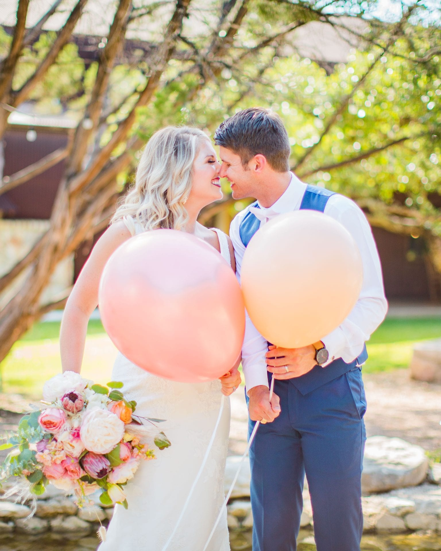 Western Sky Styled shoot couple with balloons