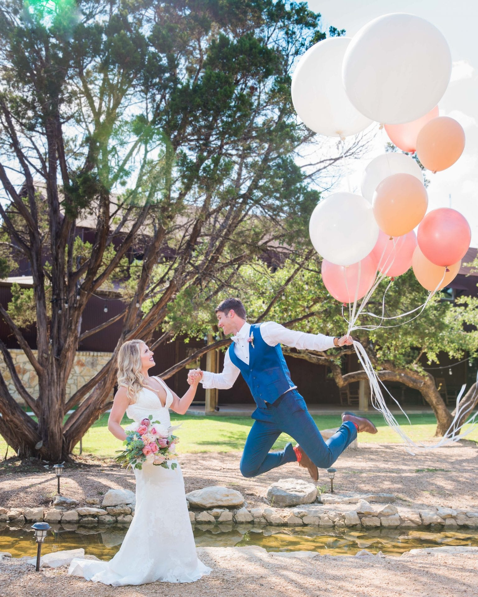 Western Sky Styled shoot couple with balloons flying away